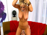Blonde bombshell Tasha Reign sits on his dick and rides
