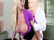 Horny bitch Bridgette B fucks the robber over the bank