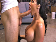 Filthy whore Kendra Lust chugging an enormous cock