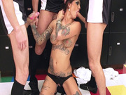 Bonnie Rotten jerking off two cocks while she deepthroats the last