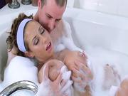 Jessy hopped into the hot tub with busty MILF Eva Notty