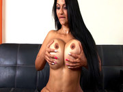 Cielo demonstrates her giant tits and big Colombian ass