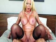 Big breasted porn star Nikki Benz rides him reverse cowgirl