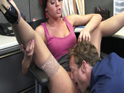 Rahyndee James has her boss lick her juicy snatch at work
