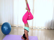 Slender Latina hottie Sofia Rivera doing yoga