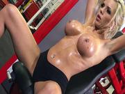 Nina Elle having naked workout in the gym
