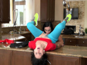 Teen gets her pussy eaten by her step mother on the kitchen counter