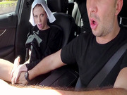 Hitchhiking nun Alexa Nova sucks Keiran's schlong while he drives
