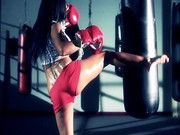 Boxer girl Aryana Augustine hitting the bag in the gym