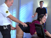 Security guard fucks Lylith Lavey in office when her boyfriend doesn't perform