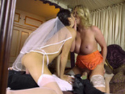 New virgin bride Carolina Abril takes pointers from wedding guest Leigh Darby