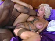 Busty blonde Harlow Harrison gets her pussy pounded by big hard black dick