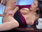 Horny office worker Lylith Lavey gets her pussy destroyed by the security guard