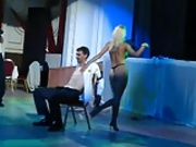 Hot blonde stripper lap dance