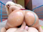 Big butt Blondie Fesser rides cock reverse cowgirl pov while outdoors