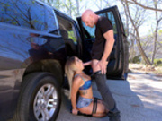 Street hooker Kissa Sins gives blowjob to officer Johnny Sins
