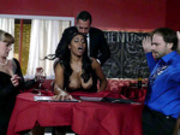 Big breasted ebony waitress Jenna J Foxx fucked by her boss infront of clients