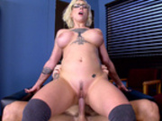 Busty Harlow Harrison rides the school principal's in his office