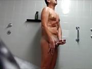 German male nude and wanking public shower