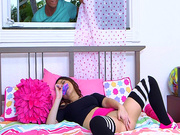 Kylie Rose masturbates as her brother's friend spies on her