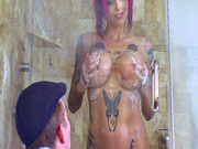 Anna Bell Peaks teasing Danny D through the glass door in the shower