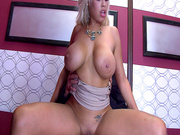 Big boobed doll Bridgette B rides his prick in the elevator