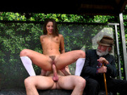 Teen Abella Danger rides a huge cock at the bus stop
