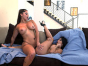 Missy Martinez and Spicy J bumping pussies on the couch