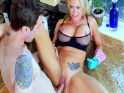 Briana Banks spreads her legs and gets slammed on the kitchen counter