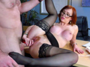 Red head boss lady Dani Jensen gets fucked on her office desk