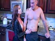 Diamond Foxxx seducing her son's best friend in the kitchen