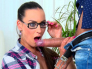 Maid Mea Melone wraps her lips around her boss's huge cock
