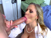 Dr. Julia Ann gets her face splattered with cum from her patient