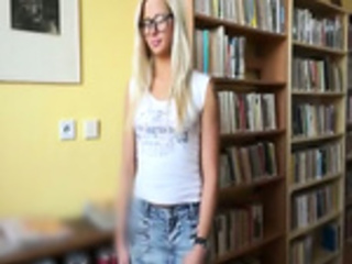 Blonde teen coed blowjob and anal cock ride in the library