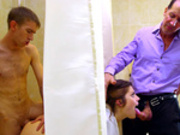 Wife Lucia Love sucks her husband dick while being fucked behind the shower curtain