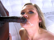 Addison Lee kisses the black monster cock after tasting his load