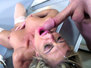 Very satisfied cheating wife Nina Dolci takes facial upside down