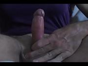 Big cumshot on a purple nightie
