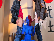 Nicole Aniston as the sexy Mystique sucking Wolverine and Cyclops's big dicks