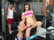 Hot milf India Summer seduces young Bella Skye in the gym