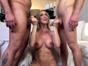 Busty blonde milf Brandi Love gets a double facial cumshot