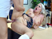 Student Alix Lovell gets her shaved pussy fucked on the desk