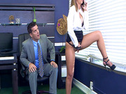 Layla London's boss catches her while she's rubbing her pussy