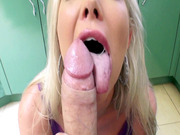 Lexi Lowe eagerly slobbers over his thick pole in a face fuck shot POV-style