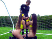 Gorgeous female soccer player Amirah Adara and Meo Melone blow the referee