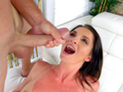Sexy brunette milf Silvia Saige takes a facial cumshot from Sean Lawless