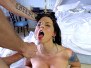 Cheating bride Simony Diamond gets her face cum covered before the wedding