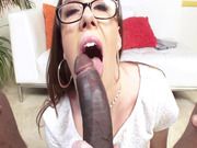 Redheaded tart Kierra Wilde sucking his monster black piston
