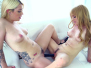 Jayme Langford and Jenna Ashley fuck each other with double ended dildo