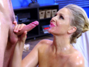 Blonde milf Julia Ann takes facial cumshot from her masseur